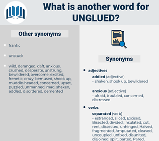 unglued, synonym unglued, another word for unglued, words like unglued, thesaurus unglued