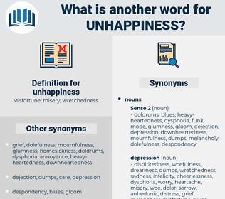 unhappiness, synonym unhappiness, another word for unhappiness, words like unhappiness, thesaurus unhappiness