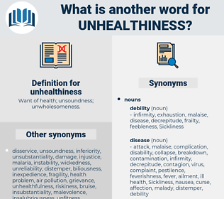unhealthiness, synonym unhealthiness, another word for unhealthiness, words like unhealthiness, thesaurus unhealthiness