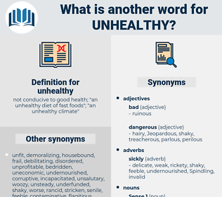 unhealthy, synonym unhealthy, another word for unhealthy, words like unhealthy, thesaurus unhealthy