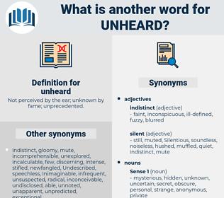 unheard, synonym unheard, another word for unheard, words like unheard, thesaurus unheard