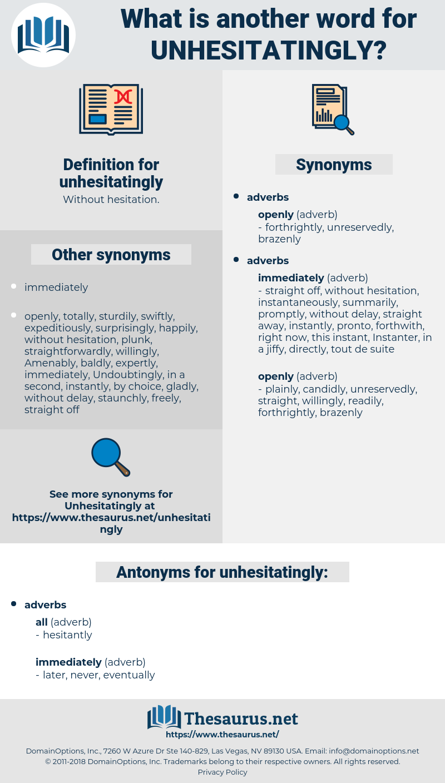 unhesitatingly, synonym unhesitatingly, another word for unhesitatingly, words like unhesitatingly, thesaurus unhesitatingly