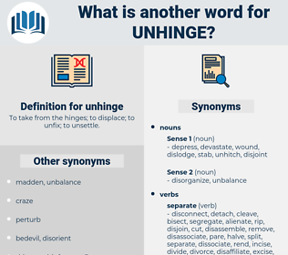 unhinge, synonym unhinge, another word for unhinge, words like unhinge, thesaurus unhinge