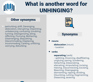 unhinging, synonym unhinging, another word for unhinging, words like unhinging, thesaurus unhinging