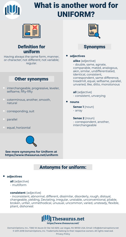 uniform, synonym uniform, another word for uniform, words like uniform, thesaurus uniform