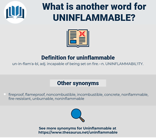 uninflammable, synonym uninflammable, another word for uninflammable, words like uninflammable, thesaurus uninflammable