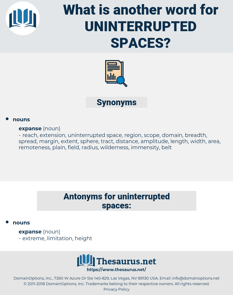 uninterrupted spaces, synonym uninterrupted spaces, another word for uninterrupted spaces, words like uninterrupted spaces, thesaurus uninterrupted spaces