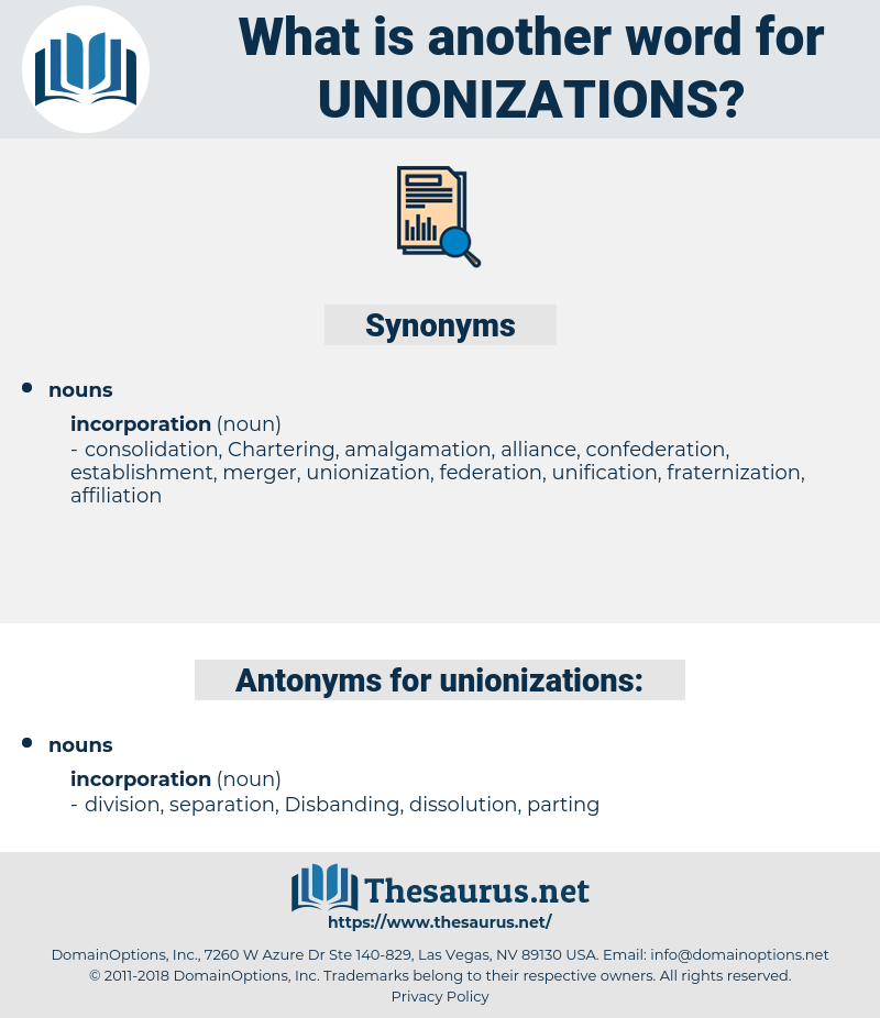 unionizations, synonym unionizations, another word for unionizations, words like unionizations, thesaurus unionizations