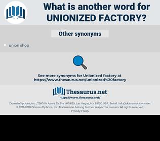 unionized factory, synonym unionized factory, another word for unionized factory, words like unionized factory, thesaurus unionized factory
