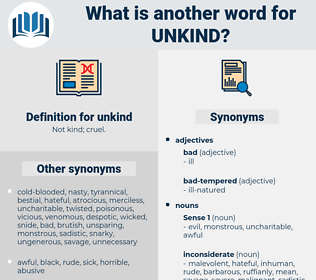 unkind, synonym unkind, another word for unkind, words like unkind, thesaurus unkind