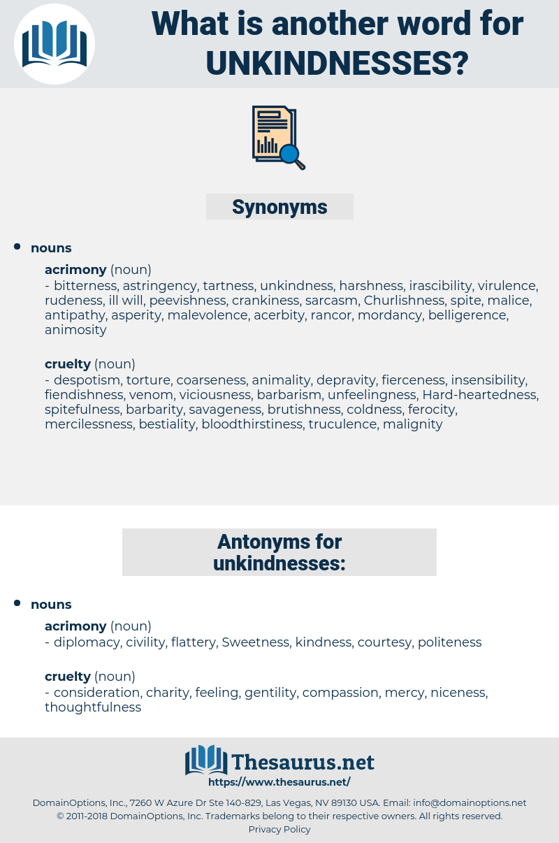 unkindnesses, synonym unkindnesses, another word for unkindnesses, words like unkindnesses, thesaurus unkindnesses