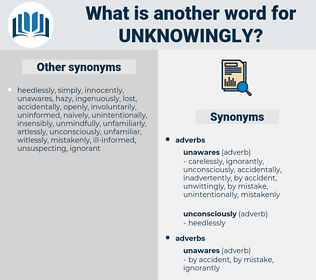 unknowingly, synonym unknowingly, another word for unknowingly, words like unknowingly, thesaurus unknowingly