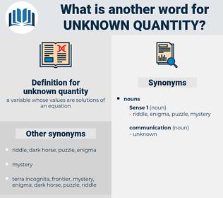 unknown quantity, synonym unknown quantity, another word for unknown quantity, words like unknown quantity, thesaurus unknown quantity