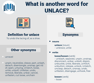 unlace, synonym unlace, another word for unlace, words like unlace, thesaurus unlace