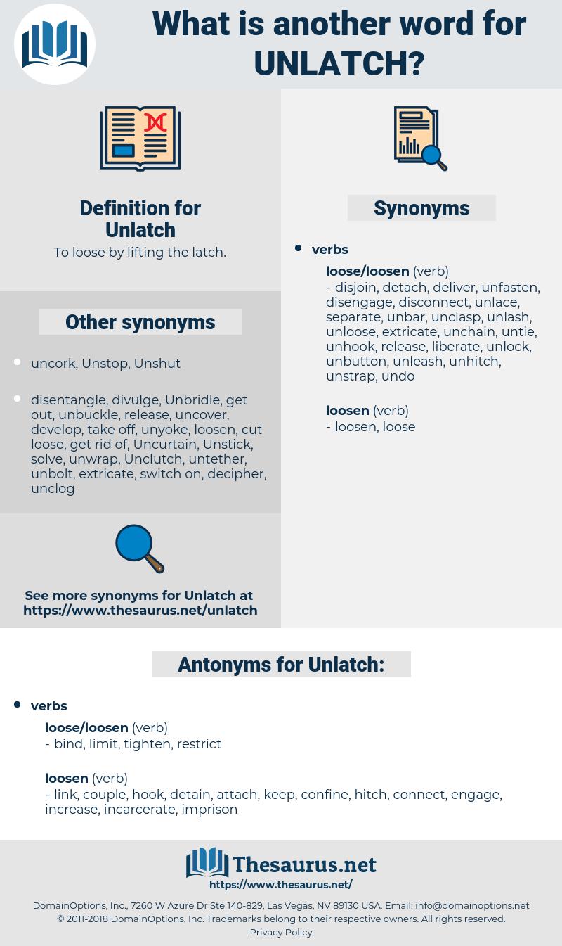 Unlatch, synonym Unlatch, another word for Unlatch, words like Unlatch, thesaurus Unlatch