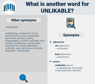 unlikable, synonym unlikable, another word for unlikable, words like unlikable, thesaurus unlikable