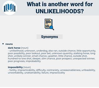 unlikelihoods, synonym unlikelihoods, another word for unlikelihoods, words like unlikelihoods, thesaurus unlikelihoods