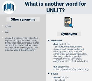 unlit, synonym unlit, another word for unlit, words like unlit, thesaurus unlit