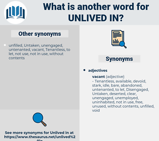 unlived in, synonym unlived in, another word for unlived in, words like unlived in, thesaurus unlived in
