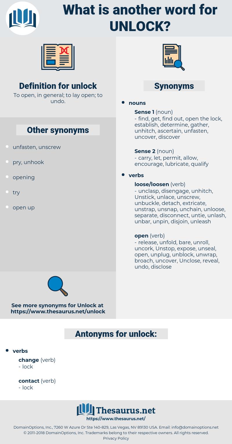 unlock, synonym unlock, another word for unlock, words like unlock, thesaurus unlock