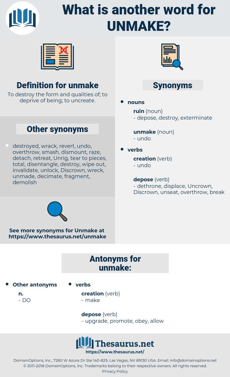 unmake, synonym unmake, another word for unmake, words like unmake, thesaurus unmake