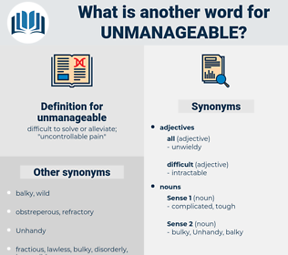 unmanageable, synonym unmanageable, another word for unmanageable, words like unmanageable, thesaurus unmanageable