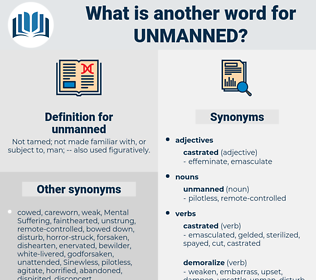 unmanned, synonym unmanned, another word for unmanned, words like unmanned, thesaurus unmanned