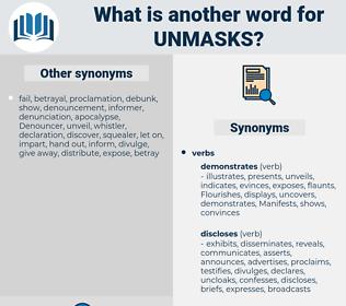 unmasks, synonym unmasks, another word for unmasks, words like unmasks, thesaurus unmasks
