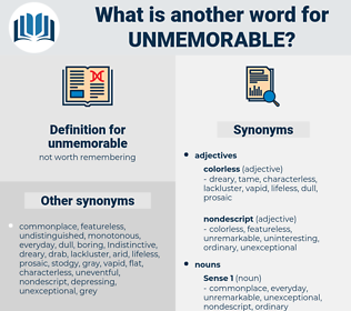 unmemorable, synonym unmemorable, another word for unmemorable, words like unmemorable, thesaurus unmemorable