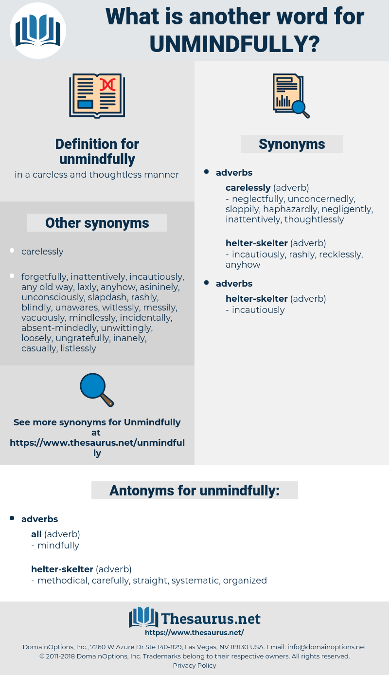 unmindfully, synonym unmindfully, another word for unmindfully, words like unmindfully, thesaurus unmindfully