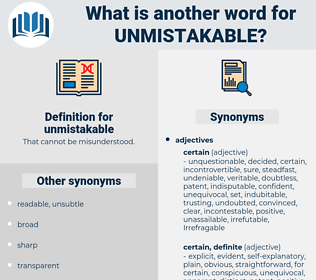 unmistakable, synonym unmistakable, another word for unmistakable, words like unmistakable, thesaurus unmistakable