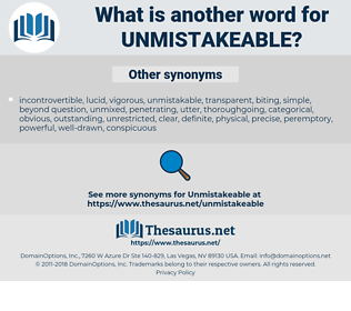 unmistakeable, synonym unmistakeable, another word for unmistakeable, words like unmistakeable, thesaurus unmistakeable
