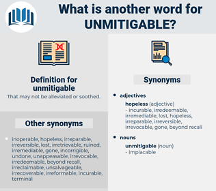 unmitigable, synonym unmitigable, another word for unmitigable, words like unmitigable, thesaurus unmitigable