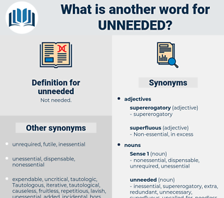 unneeded, synonym unneeded, another word for unneeded, words like unneeded, thesaurus unneeded