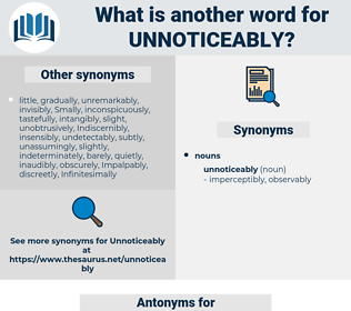 unnoticeably, synonym unnoticeably, another word for unnoticeably, words like unnoticeably, thesaurus unnoticeably