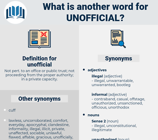 unofficial, synonym unofficial, another word for unofficial, words like unofficial, thesaurus unofficial