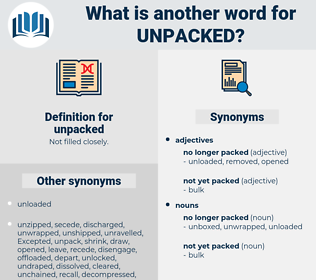unpacked, synonym unpacked, another word for unpacked, words like unpacked, thesaurus unpacked