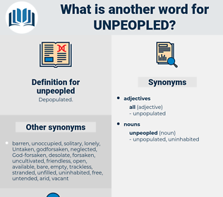 unpeopled, synonym unpeopled, another word for unpeopled, words like unpeopled, thesaurus unpeopled