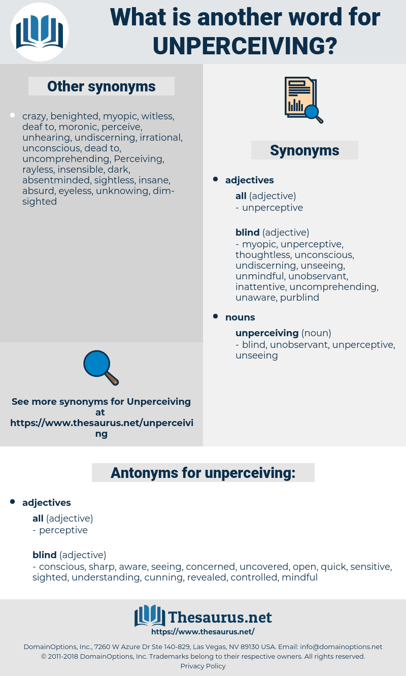 unperceiving, synonym unperceiving, another word for unperceiving, words like unperceiving, thesaurus unperceiving