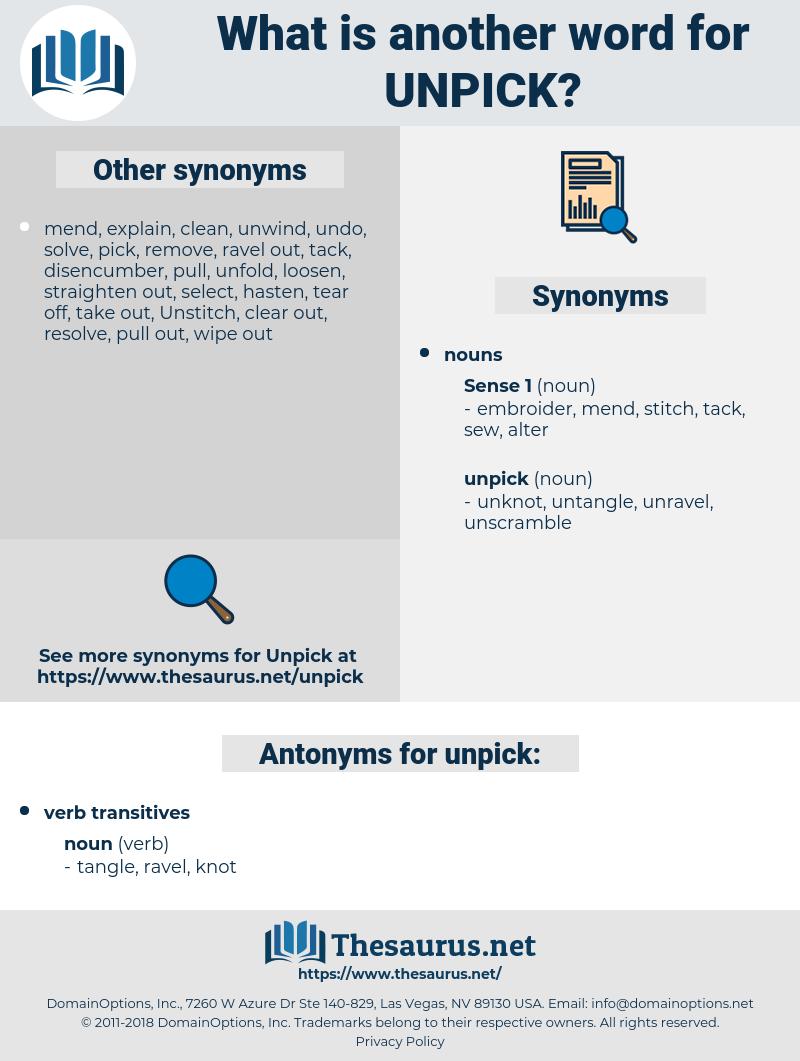 unpick, synonym unpick, another word for unpick, words like unpick, thesaurus unpick
