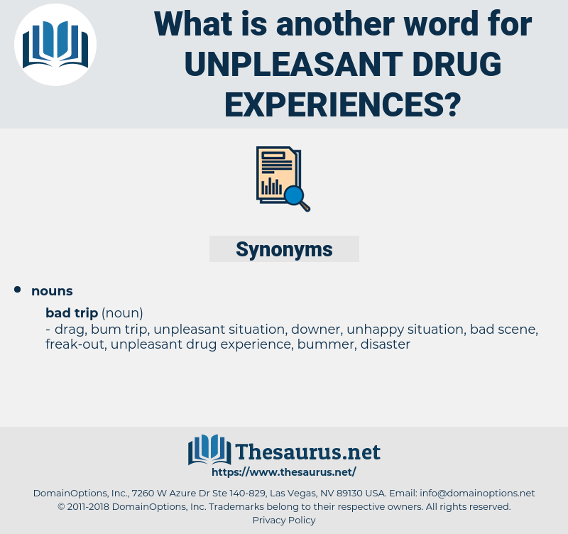 unpleasant drug experiences, synonym unpleasant drug experiences, another word for unpleasant drug experiences, words like unpleasant drug experiences, thesaurus unpleasant drug experiences