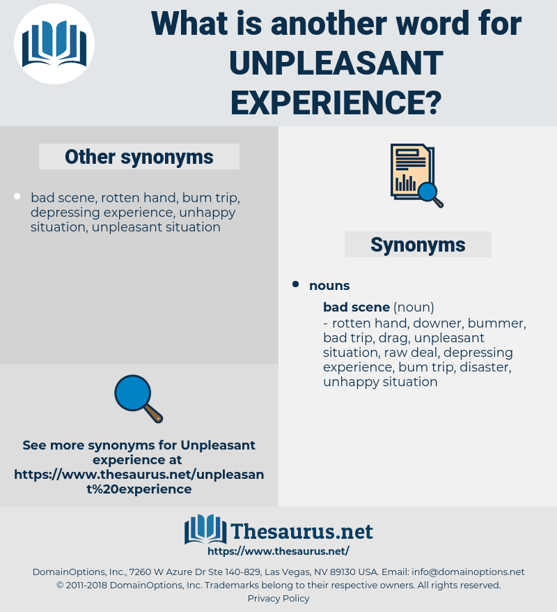 unpleasant experience, synonym unpleasant experience, another word for unpleasant experience, words like unpleasant experience, thesaurus unpleasant experience