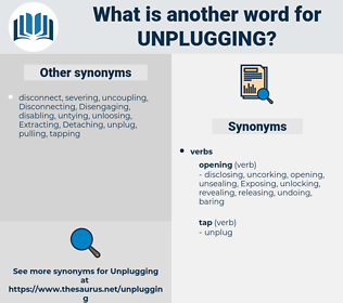 unplugging, synonym unplugging, another word for unplugging, words like unplugging, thesaurus unplugging