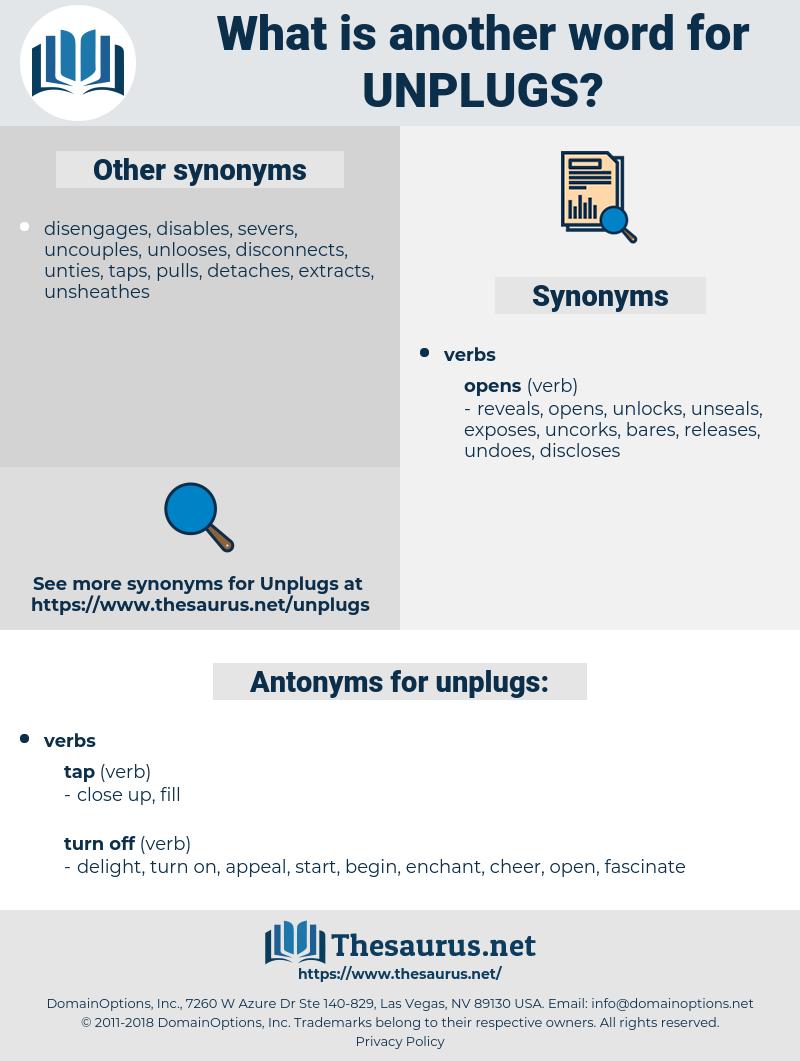 unplugs, synonym unplugs, another word for unplugs, words like unplugs, thesaurus unplugs