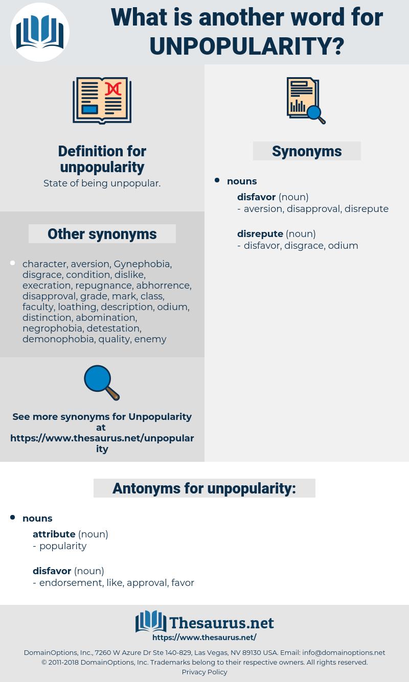 unpopularity, synonym unpopularity, another word for unpopularity, words like unpopularity, thesaurus unpopularity