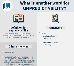 unpredictability, synonym unpredictability, another word for unpredictability, words like unpredictability, thesaurus unpredictability