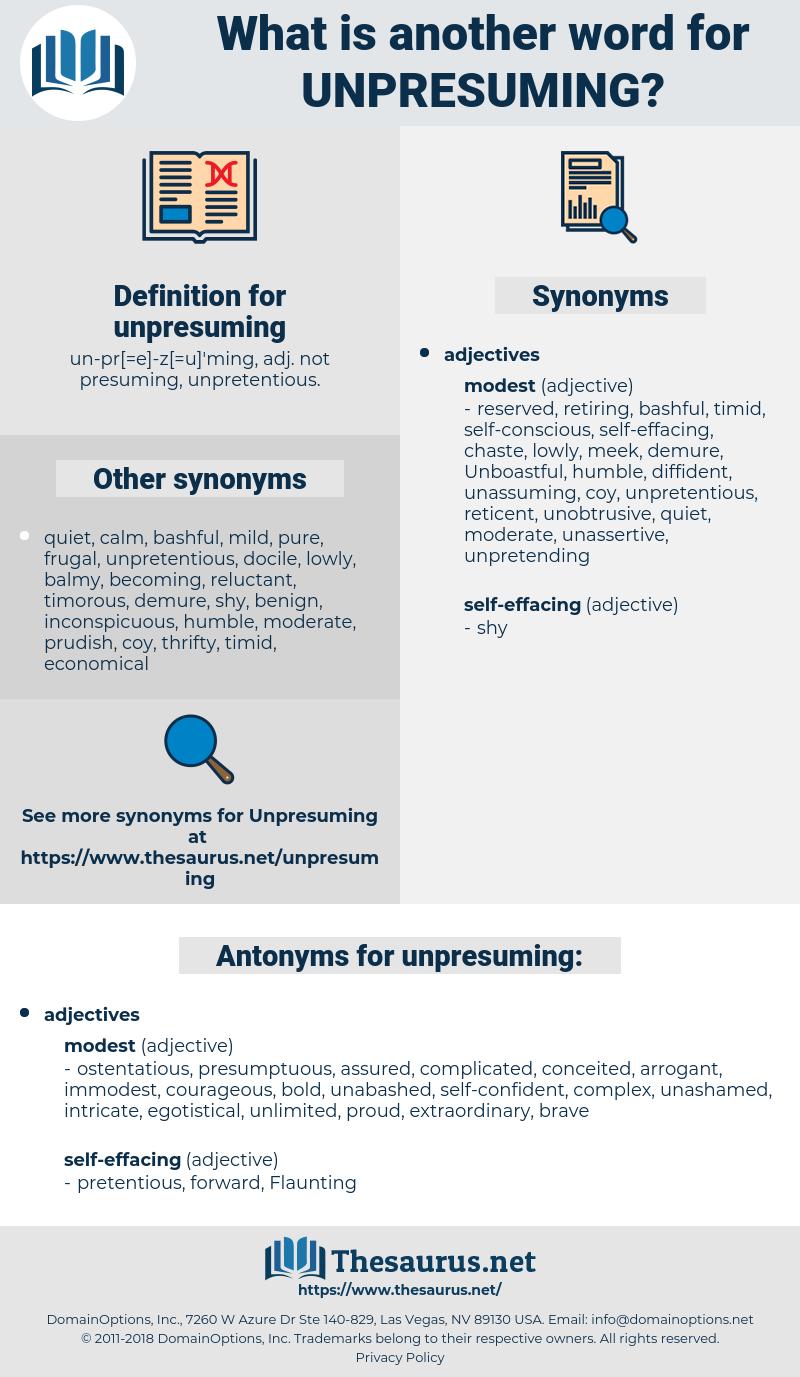 unpresuming, synonym unpresuming, another word for unpresuming, words like unpresuming, thesaurus unpresuming