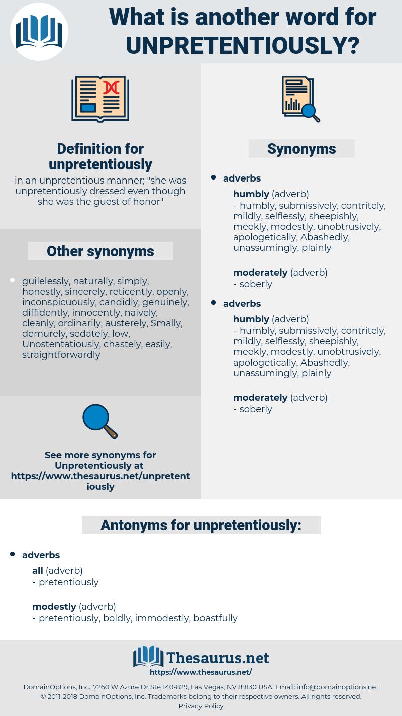 unpretentiously, synonym unpretentiously, another word for unpretentiously, words like unpretentiously, thesaurus unpretentiously