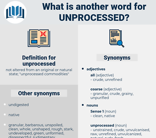 unprocessed, synonym unprocessed, another word for unprocessed, words like unprocessed, thesaurus unprocessed