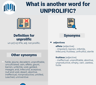 unprolific, synonym unprolific, another word for unprolific, words like unprolific, thesaurus unprolific